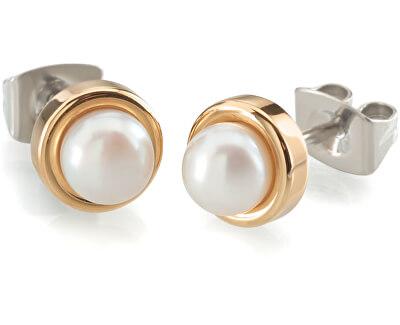Cercei de titan  cu perle placate cu aur 0594-02