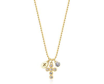 Dlouhý pozlacený náhrdelník BHKN061 (řetízek, přívěsky)