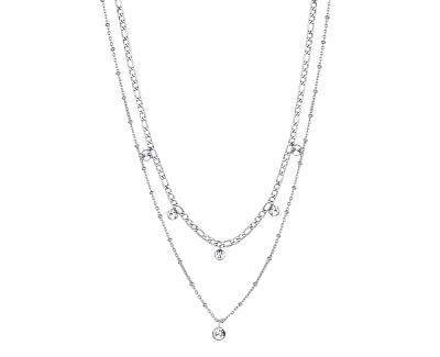 Ocelový dvojitý náhrdelník s krystaly Symphonia BYM81