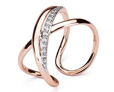Otevřený bicolor prsten se zirkony Ribbon BBN32