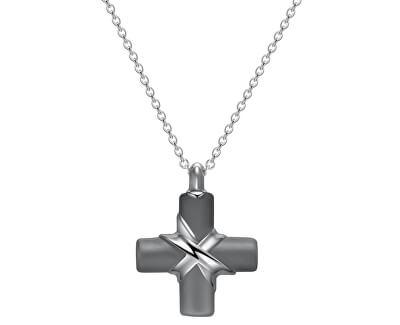 Colier din oțel cu pandativ cruce pentru bărbați Stoneage BOG01