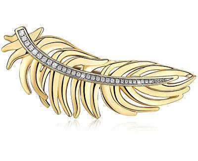 Pozlacená peříčková brož Plume BUM42
