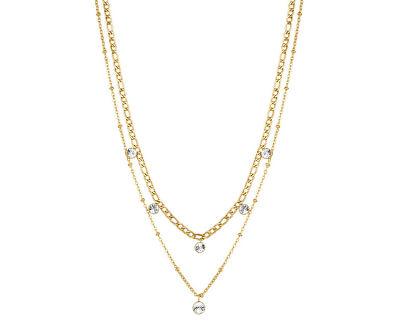 Pozlacený dvojitý náhrdelník s krystaly Symphonia BYM82