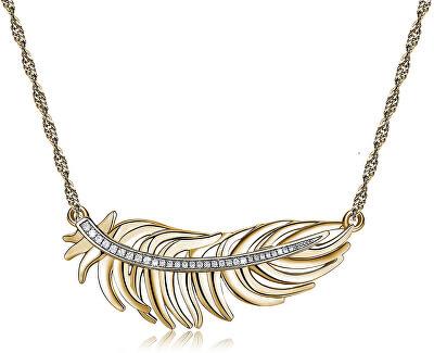 Romantický pozlacený náhrdelník s peříčkem Plume BUM02