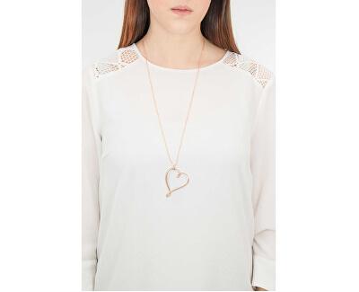 Bicolor Halskette mit Herz Ribbon BBN04