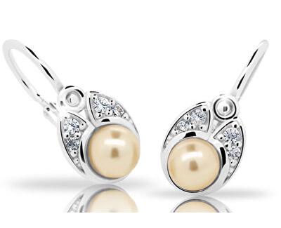 Dětské stříbrné náušnice s perlou C2254-10-C1-S-2