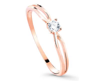 Něžný třpytivý prsten z růžového zlata Z8027-10-X-4