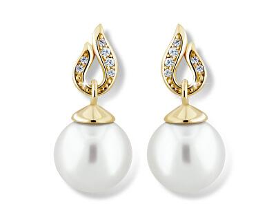 Působivé perlové náušnice ze žlutého zlata Z6397-3125-10-X-1