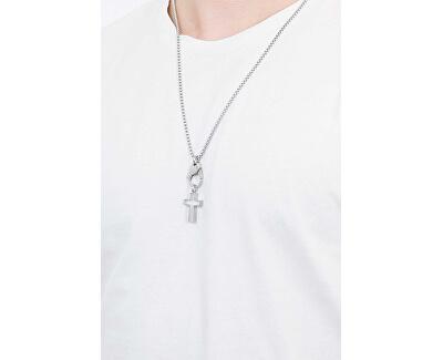 Stylový pánský náhrdelník karabina s křížkem DX1252040
