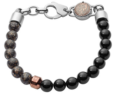 Pánský korálkový náramek s ocelovými ozdobami DX1076040