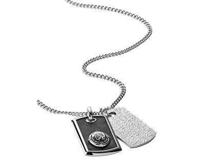 Colier din oțel cu piele pentru bărbați DX0818040