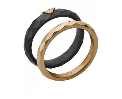 Módní sada ocelových prstenů EGS2767001