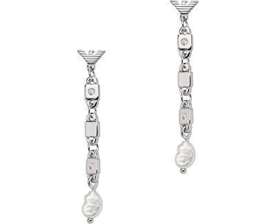 Stříbrné visací náušnice s perlami EG3473040