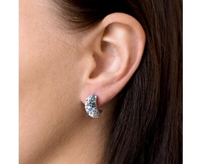 Stříbrné půlkruhové náušnice s krystaly 31164.3 Light Sapphire