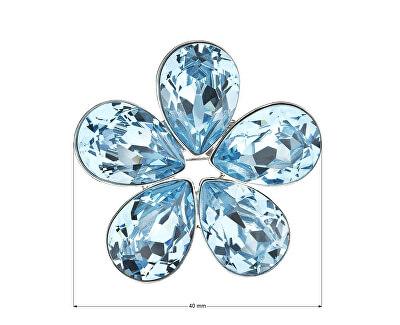 Třpytivá brož modrá Květina 58003.3 aqua