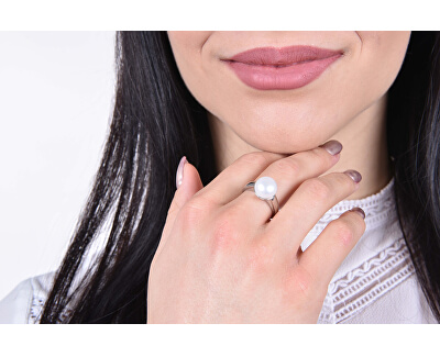 Zvýhodněná perlová souprava šperků Pavona 22015.1, 25001.1 (náhrdelník, prsten obvod 54 mm)
