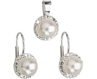 Set cu perle și cristale Swarovski 39091.1 alb (cercei, pandantiv)