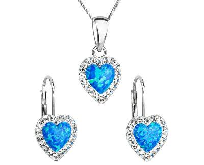 Srdíčková souprava šperků 39161.1 & blue s.opal (náušnice, řetízek, přívěsek)