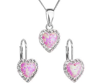 Srdíčková souprava šperků 39161.1 & light rose s.opal (náušnice, řetízek, přívěsek)