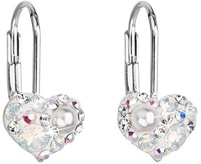 Srdíčkové náušnice s krystaly Swarovski 31125.9 white