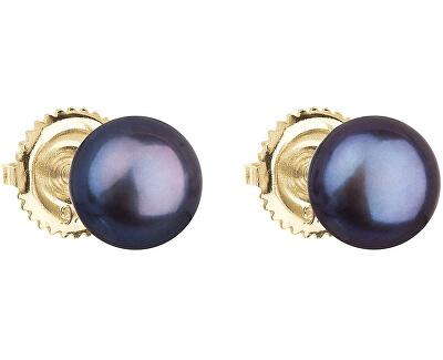 Zlaté náušnice kôstky s pravými perlami Pavona 921004.3 peacock