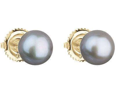 Zlaté náušnice kôstky s pravými perlami Pavona 921004.3 - GREY