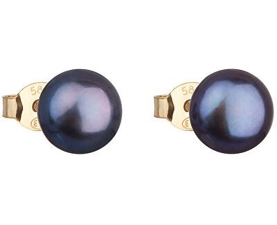 Zlaté náušnice kôstky s pravými perlami Pavona 921042.3 peacock