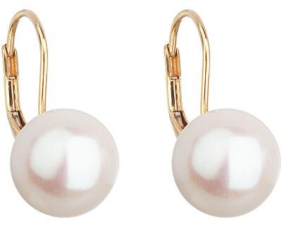 Zlaté visiace náušnice s pravými perlami Pavona 921010.1