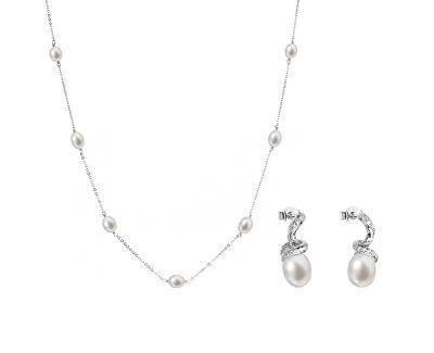 Zvýhodněná perlová souprava šperků Pavona 22016.1, 21035.1 (náhrdelník, náušnice)