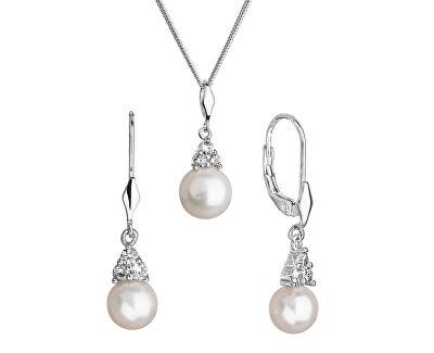 Zvýhodněná souprava stříbrných šperků s perlami 21062.1, 22033.1 (řetízek, přívěsek, náušnice)
