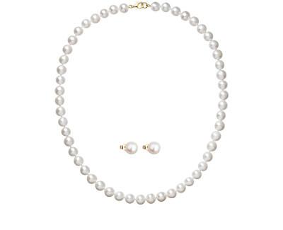 Zvýhodněná souprava zlatých šperků s perlami 922003.1, 921042.1 (náhrdelník, náušnice)
