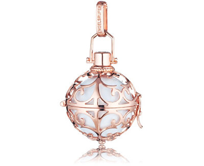 Růžově zlacený stříbrný přívěsek Andělský zvonek s bílou rolničkou ER-01-R