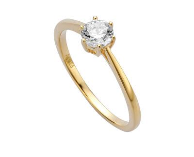 Pozlacený prsten se zirkonem Sole ESRG013912