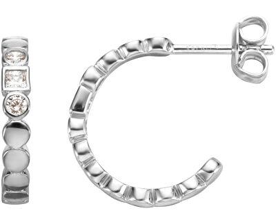 Strieborné kruhové náušnice s kryštálmi Flow ESER00521100