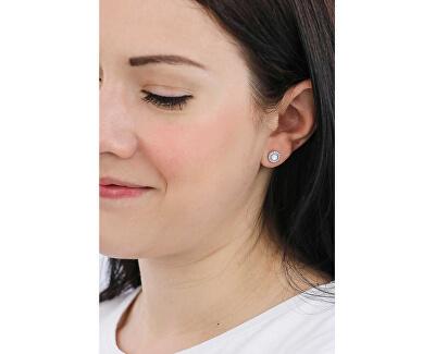 Něžné stříbrné náušnice s krystaly a perletí JFS00537040