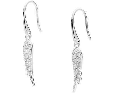 Něžné stříbrné náušnice s krystaly Andělská křídla JFS00533040
