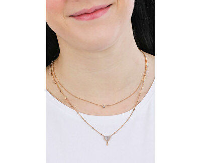 Něžný dvojitý náhrdelník se srdíčkem Vintage Glitz JF03648791