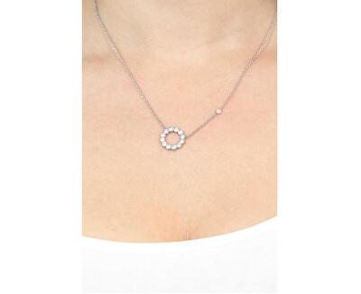 Oceľový náhrdelník s čírymi kryštálmi JF02800040
