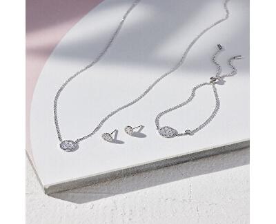 Stříbrný náhrdelník s krystaly a perletí JFS00520040