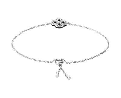 Tajemný stříbrný náramek s krystaly a onyxem JFS00526040
