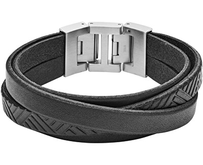 Čierny kožený náramok JF02998040