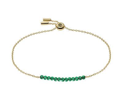Pozlacený náramek se zelenými korálky Vintage Iconic JF03649710