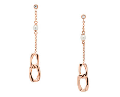 Cercei din oțel placat cu aur roz  JF03346791