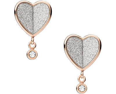 Třpytivé růžově zlacené ocelové náušnice srdce Vintage Glitz JF03646791