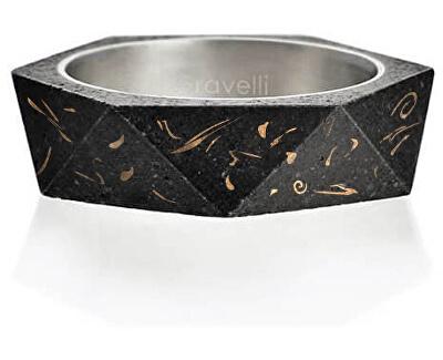 Stylový betonový prsten Cubist Fragments Edition měděná/antracitová GJRUFCA005