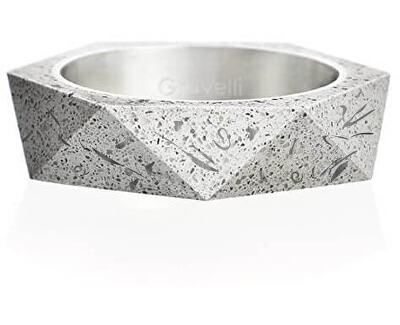 Stylový betonový prsten Cubist Fragments Edition ocelová/šedá GJRUFSG005
