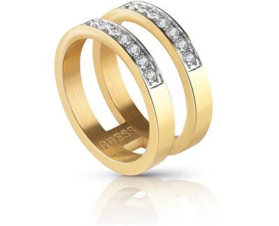 Dvojitý pozlacený prsten s krystaly UBR78007