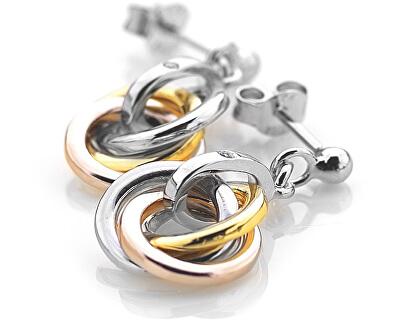 Cercei din argint Trio Rose Gold DE389