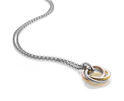 Stříbrný náhrdelník Trio Rose Gold DP544 (řetízek, přívěsek)