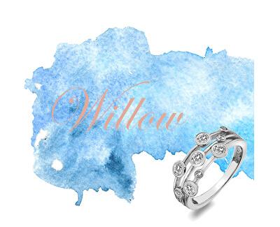 Luxusný strieborný prsteň s topaz a diamantom Willow DR207